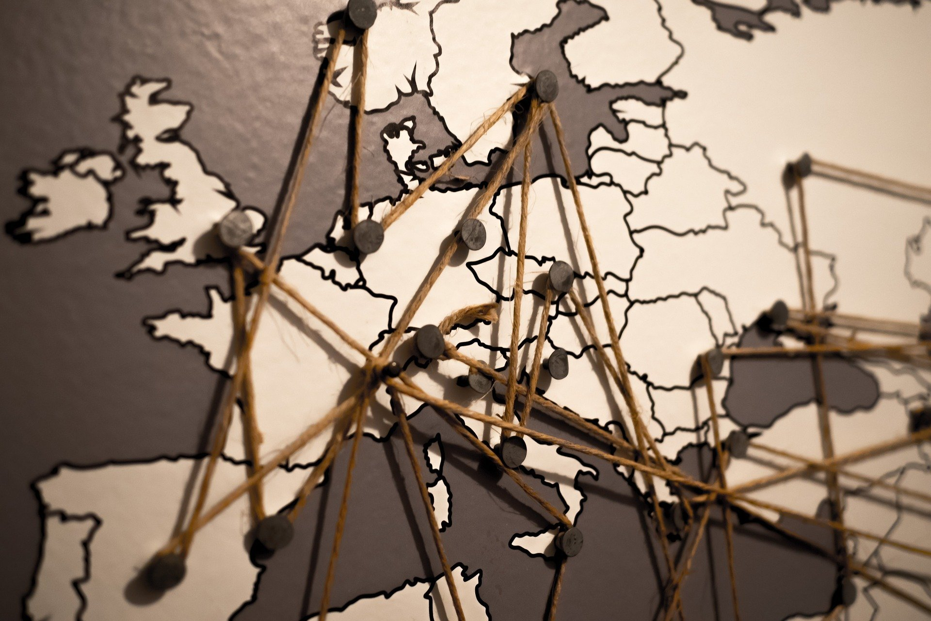 McParking parking lot network on stylized map of Europe